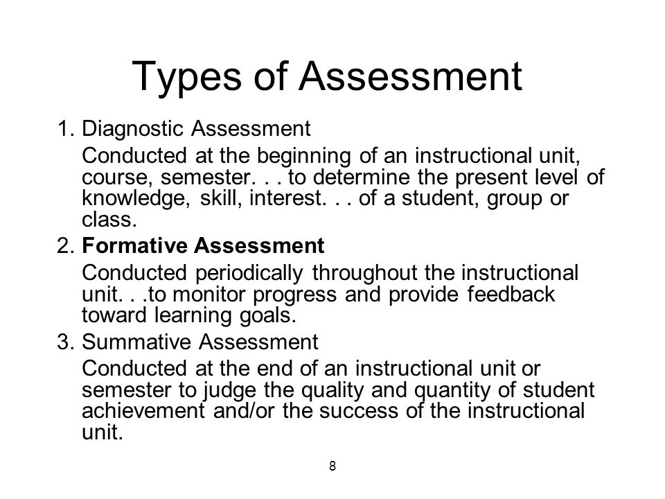 8 Types of Assessment 1.Diagnostic Assessment Conducted at the beginning of an instructional unit, course, semester...