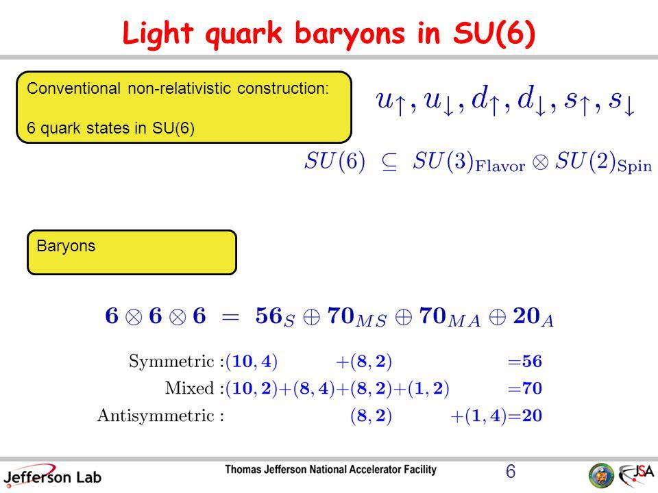 Light quark baryons in SU(6) Conventional non-relativistic construction: 6 quark states in SU(6) Baryons 6