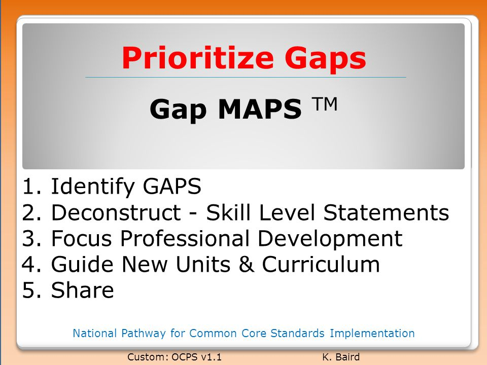 Prioritize Gaps National Pathway for Common Core Standards Implementation Custom: OCPS v1.1 K.