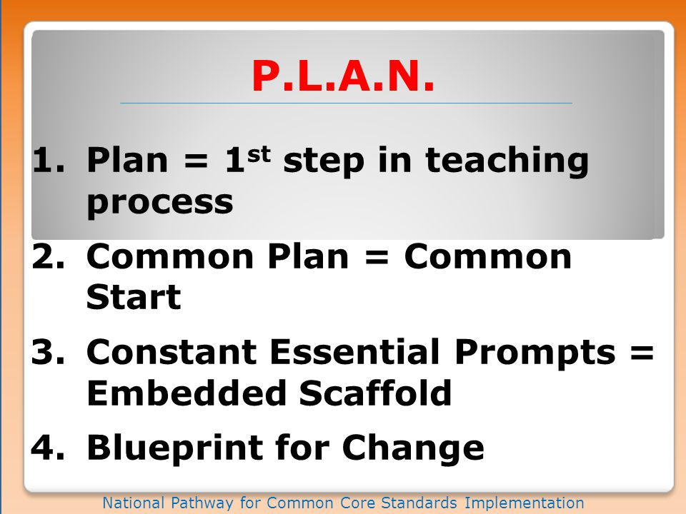 Phase I National Pathway for Common Core Standards Implementation CCSS = P.L.A.N Common Plan Prioritize CCR / MPS / GAP Understand Deconstruct Share Resources Embed Lead / Observe