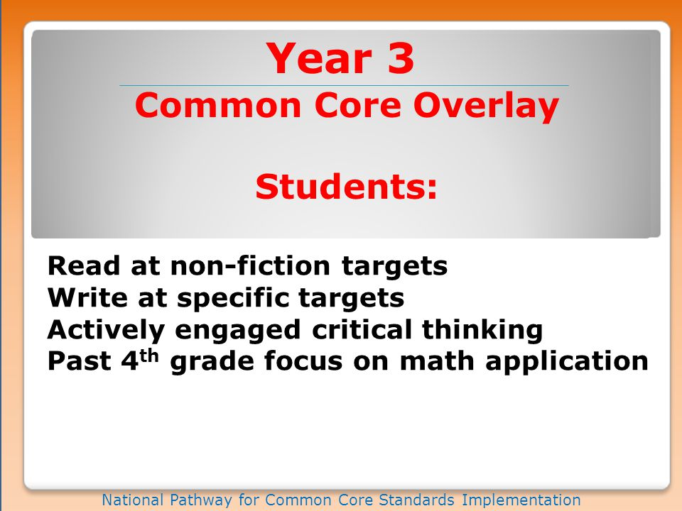 Year 3 National Pathway for Common Core Standards Implementation Common Core Overlay Students: Read at non-fiction targets Write at specific targets Actively engaged critical thinking Past 4 th grade focus on math application