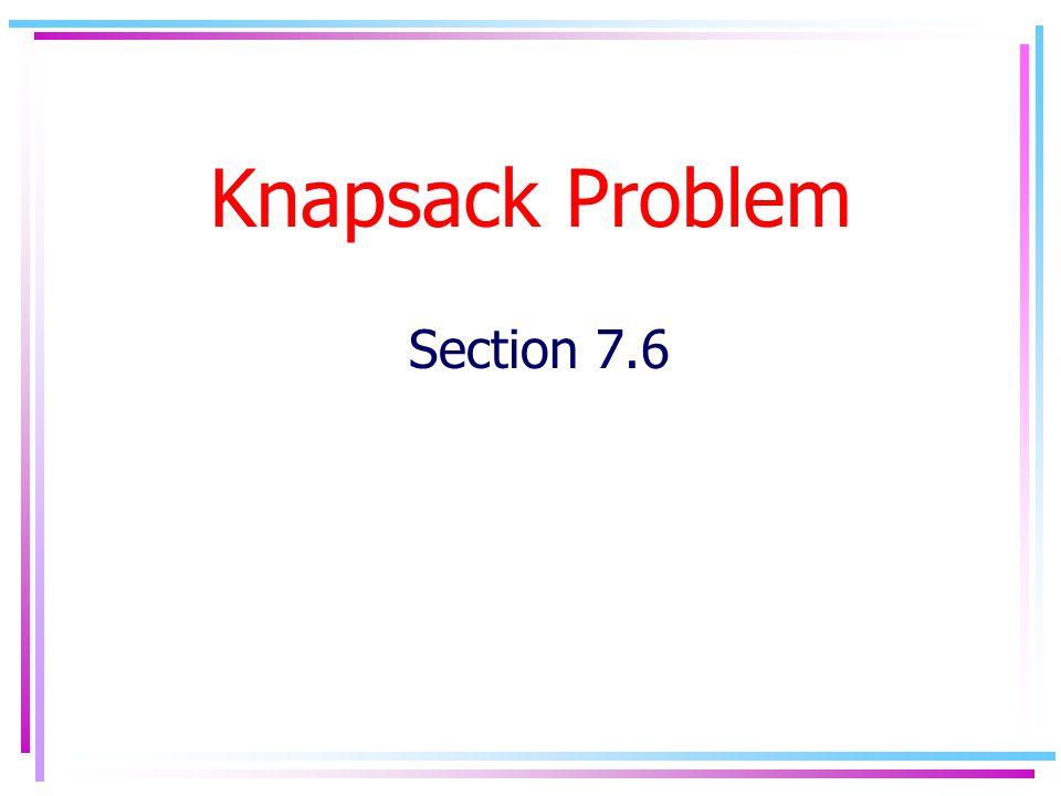 Knapsack Problem Section 7.6