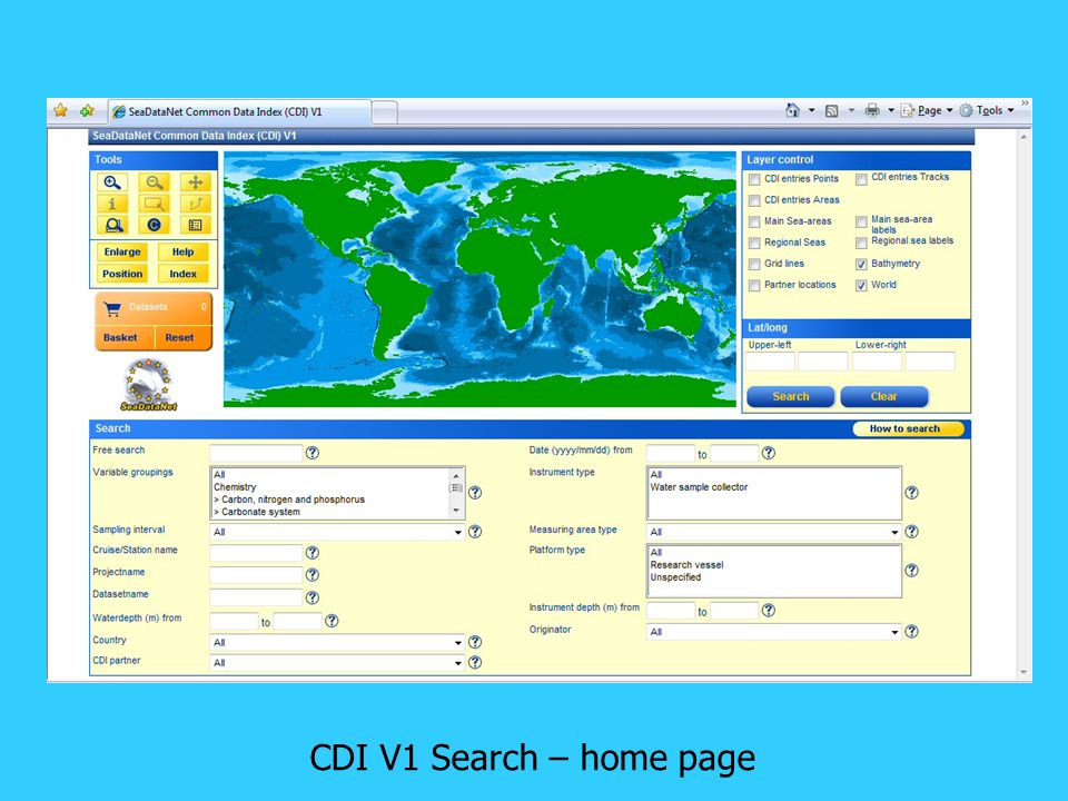 CDI V1 Search – home page