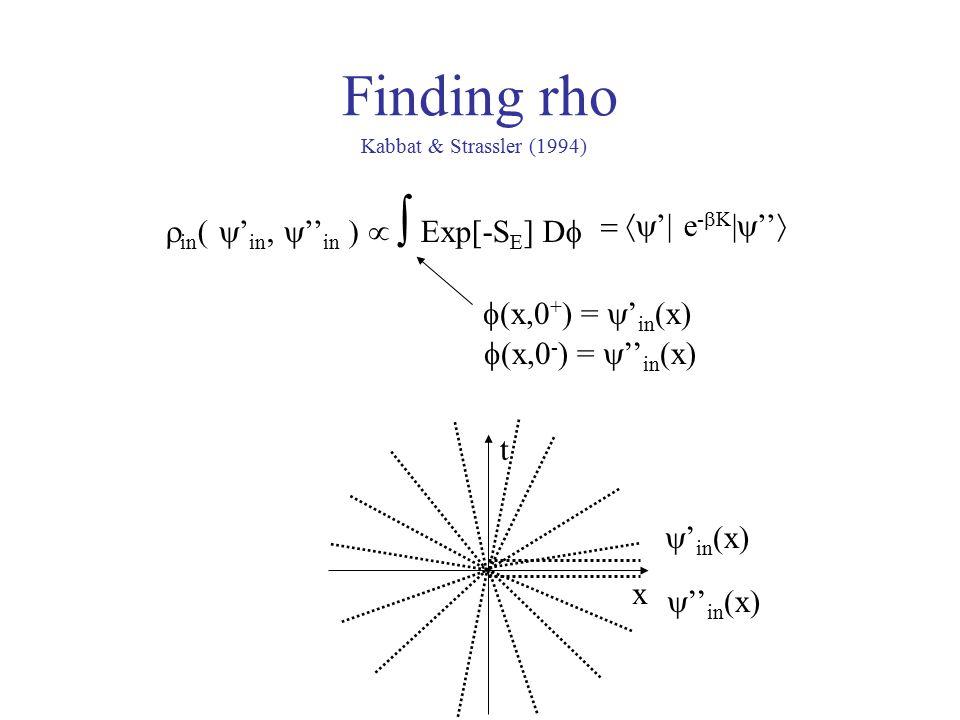 Finding rho x t  ' in (x)  '' in (x)  in  ' in  '' in    Exp[-S E ] D   (x,0 + ) =  ' in (x)  (x,0 - ) =  '' in (x)  '| e -  K |  ''  Kabbat & Strassler (1994)