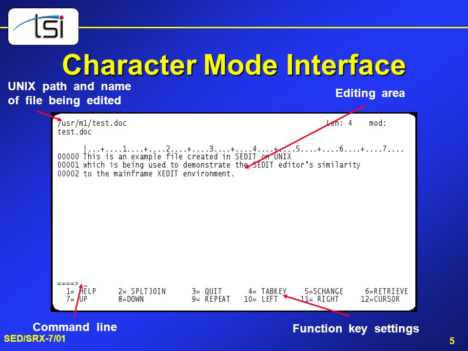 5 SED/SRX-7/01 Character Mode Interface UNIX path and name of file being edited Command line Function key settings Editing area