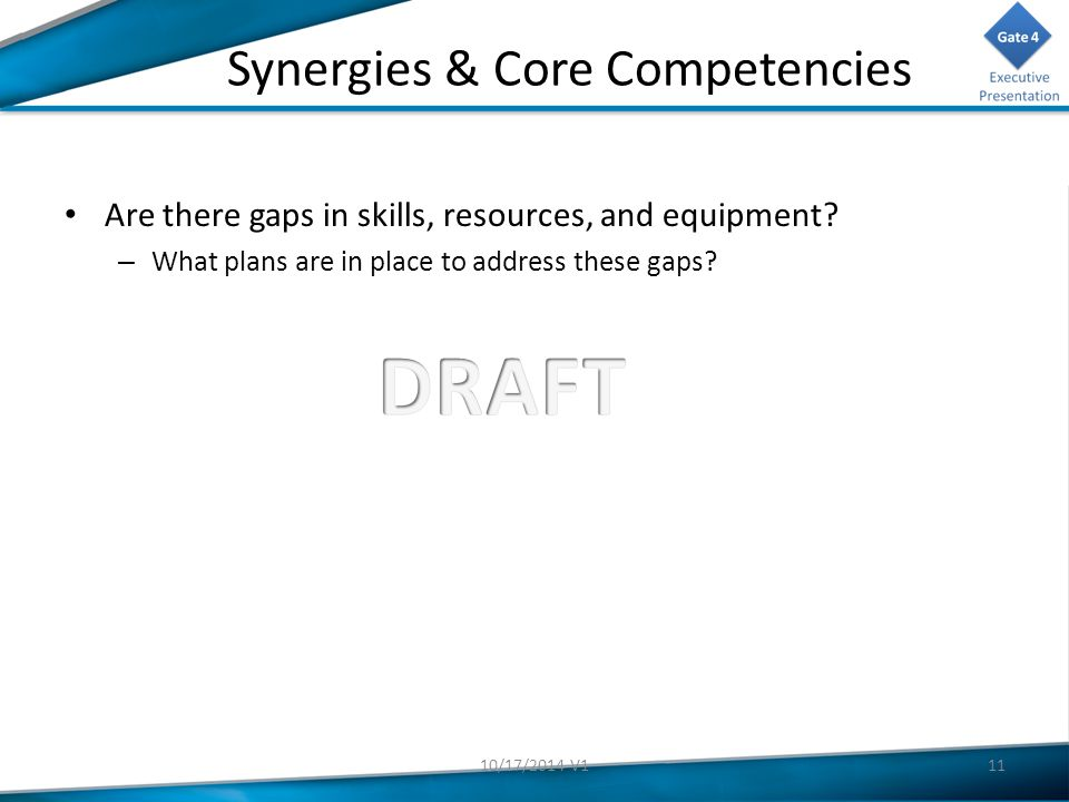 Synergies & Core Competencies Are there gaps in skills, resources, and equipment.