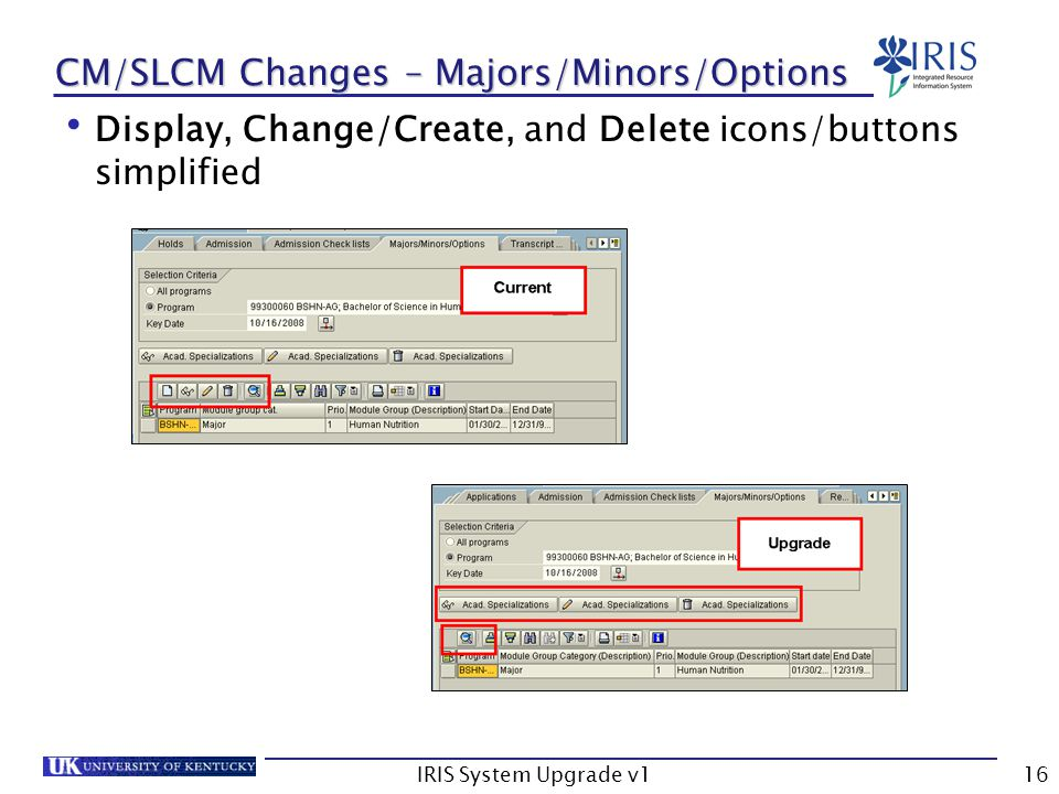 IRIS System Upgrade v116 CM/SLCM Changes – Majors/Minors/Options Display, Change/Create, and Delete icons/buttons simplified