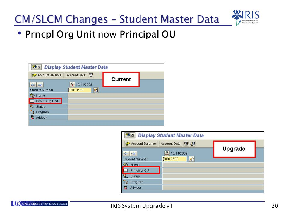 IRIS System Upgrade v120 CM/SLCM Changes – Student Master Data Prncpl Org Unit now Principal OU