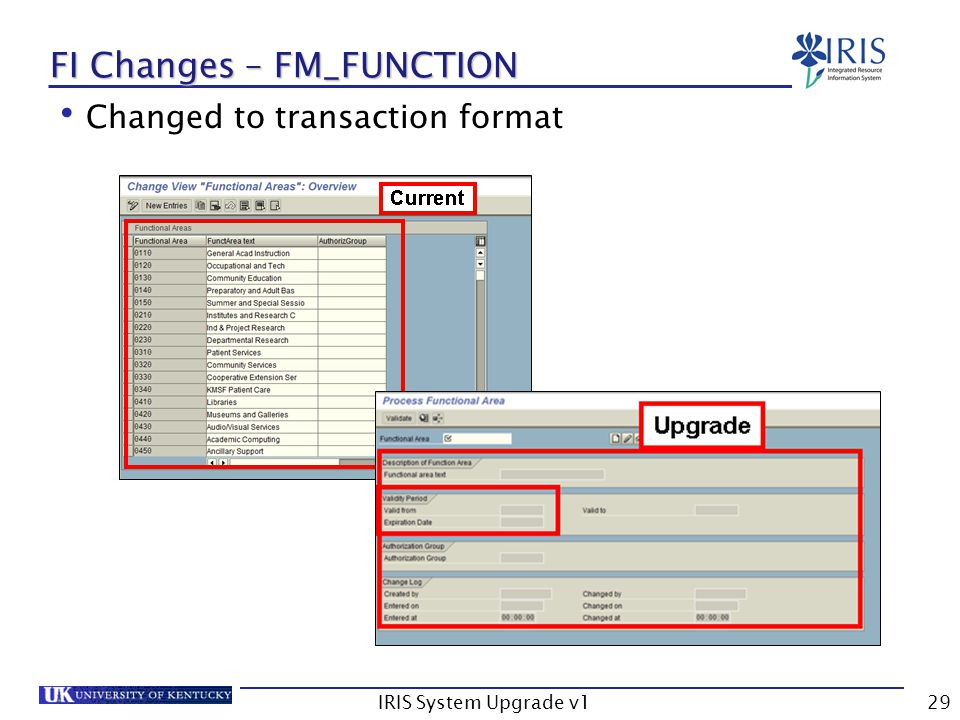 IRIS System Upgrade v129 FI Changes – FM_FUNCTION Changed to transaction format
