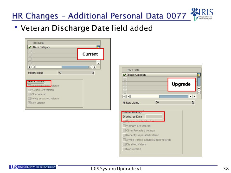IRIS System Upgrade v138 HR Changes – Additional Personal Data 0077 Veteran Discharge Date field added