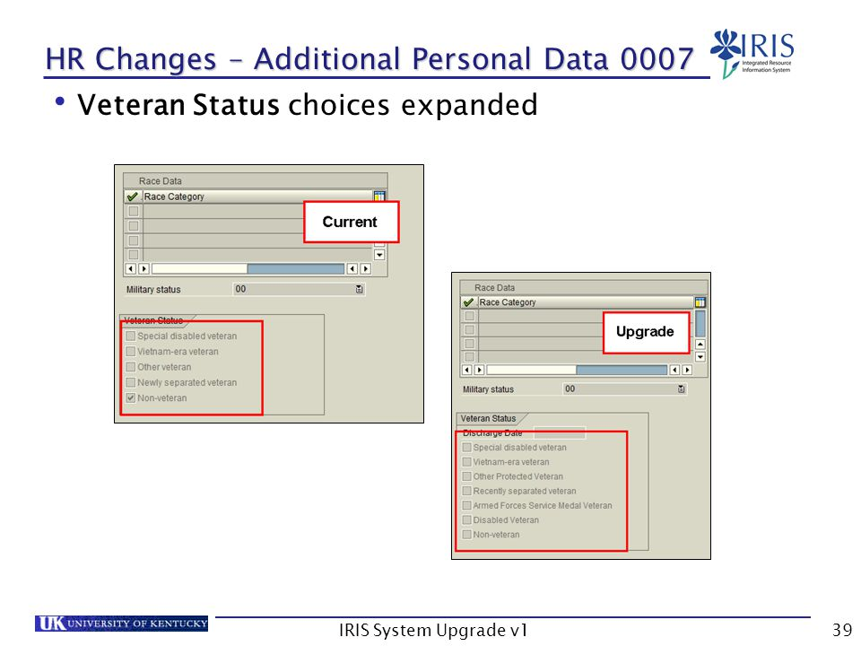 IRIS System Upgrade v139 HR Changes – Additional Personal Data 0007 Veteran Status choices expanded