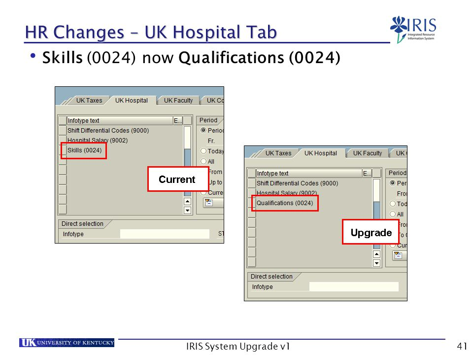 IRIS System Upgrade v141 HR Changes – UK Hospital Tab Skills (0024) now Qualifications (0024)