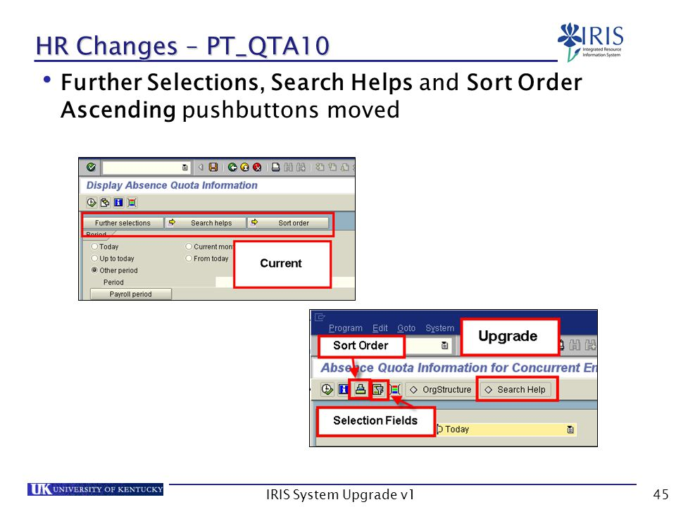 IRIS System Upgrade v145 HR Changes – PT_QTA10 Further Selections, Search Helps and Sort Order Ascending pushbuttons moved