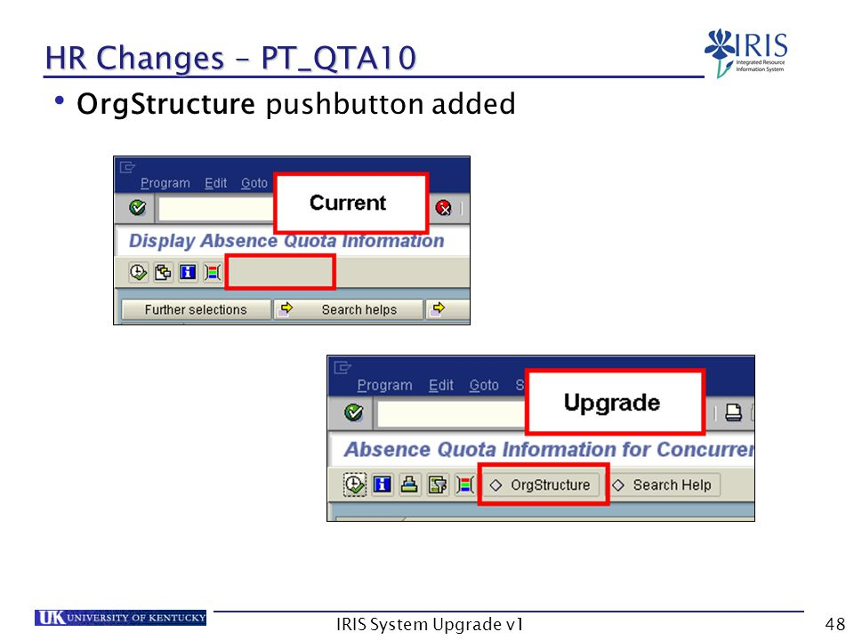 IRIS System Upgrade v148 HR Changes – PT_QTA10 OrgStructure pushbutton added