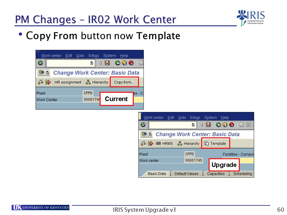 IRIS System Upgrade v160 PM Changes – IR02 Work Center C opy From button now Template
