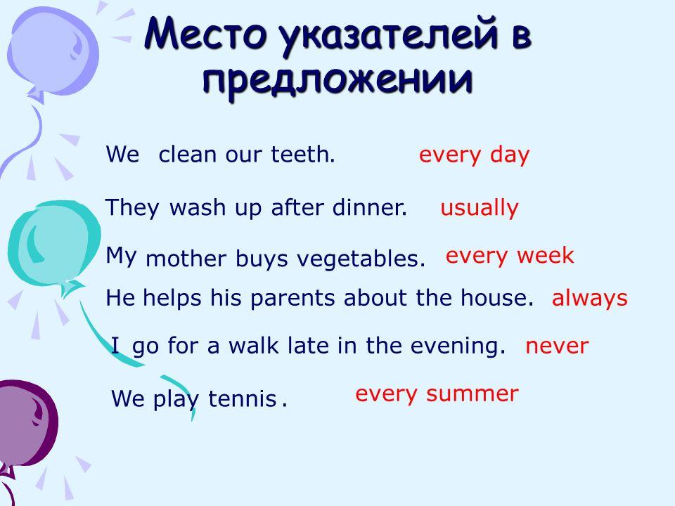 Место указателей в предложении We play tennis Weclean our teeth.every day Theywash up after dinner.usually My mother buys vegetables. every week Hehel
