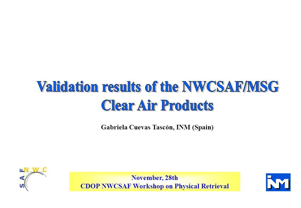 CDOP NWC SAF Workshop on Physical Retrieval LPW_BL Statistical parameters Current (v1.3) Current + radiance local bias (Improved v1.3) Delivery 2008 v2.0 Correlation 0.74580.76830.7924 bias (mm) -0.5232-0.20780.0689 rms (mm) 3.03733.00262.5610 LPW_BL over non-desert land pixels Decreasing 0.48 Increasing 0.04