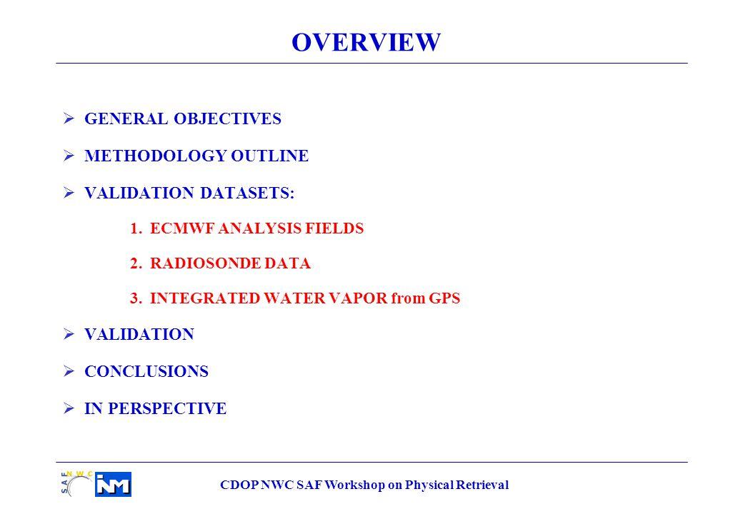 CDOP NWC SAF Workshop on Physical Retrieval LPW_ML Statistical parameters Current (v1.3) Current + radiance local bias (Improved v1.3) Delivery 2008 v3.0 Correlation 0.74480.78380.8207 bias (mm) 0.0794-0.09220.2486 rms (mm) 2.91982.57622.3141 LPW_ML over sea pixels Decreasing 0.61 Increasing 0.06