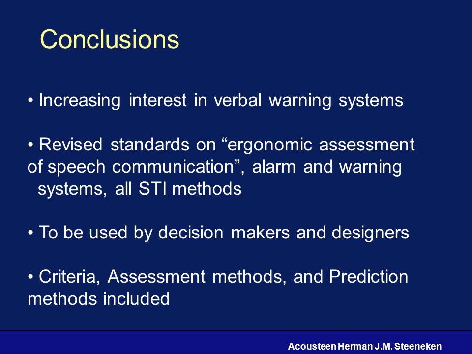 "Acousteen Herman J.M. Steeneken Conclusions Increasing interest in verbal warning systems Revised standards on ""ergonomic assessment of speech communi"