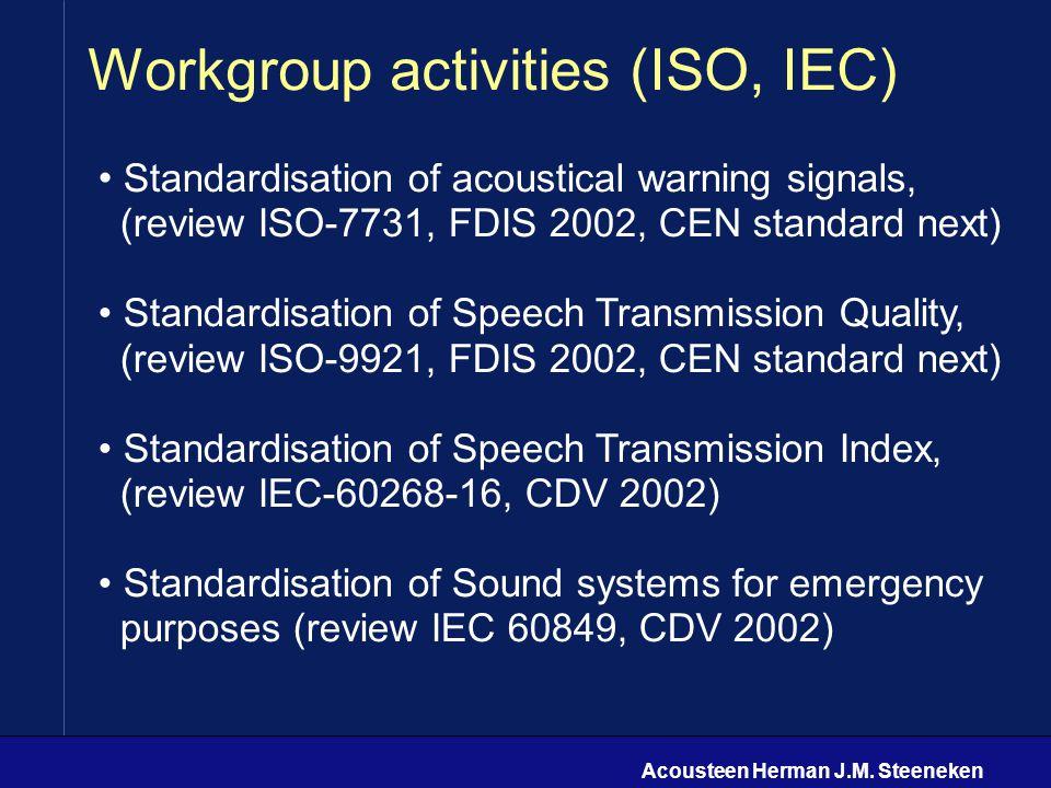 Acousteen Herman J.M. Steeneken Workgroup activities (ISO, IEC) Standardisation of acoustical warning signals, (review ISO-7731, FDIS 2002, CEN standa