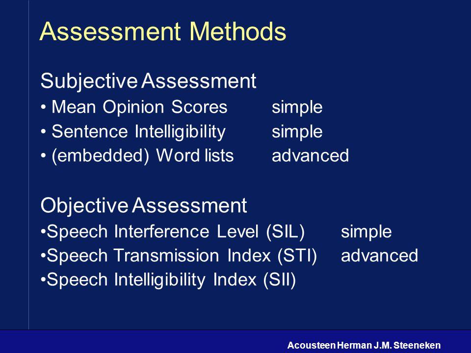 Acousteen Herman J.M. Steeneken Assessment Methods Subjective Assessment Mean Opinion Scoressimple Sentence Intelligibilitysimple (embedded) Word list