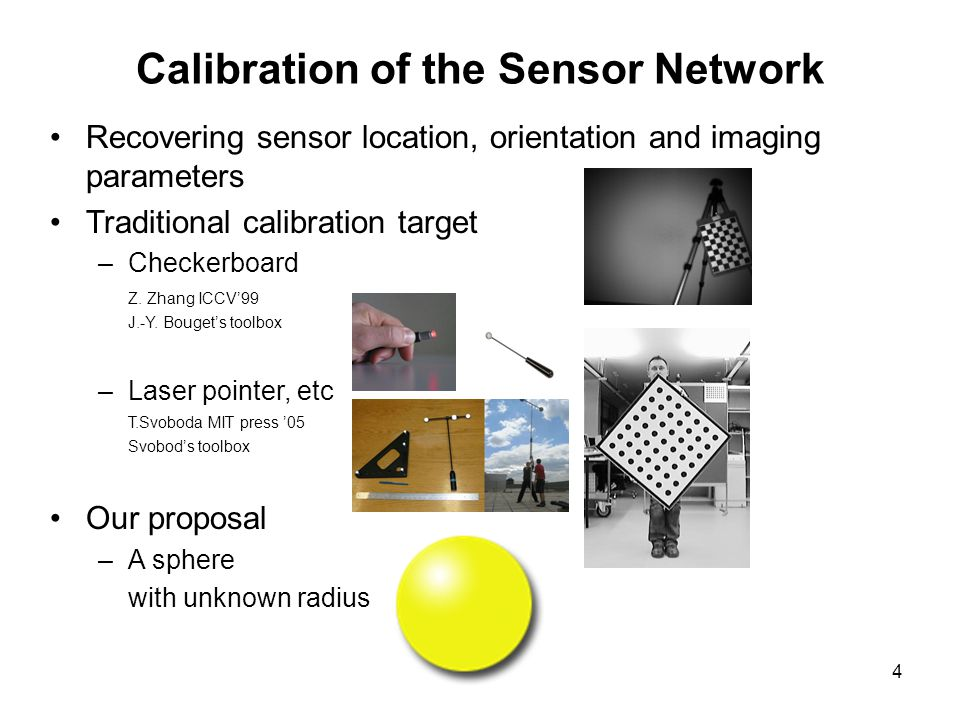 4 Recovering sensor location, orientation and imaging parameters Traditional calibration target –Checkerboard Z.
