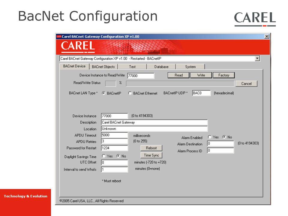 Technology & Evolution BacNet Configuration