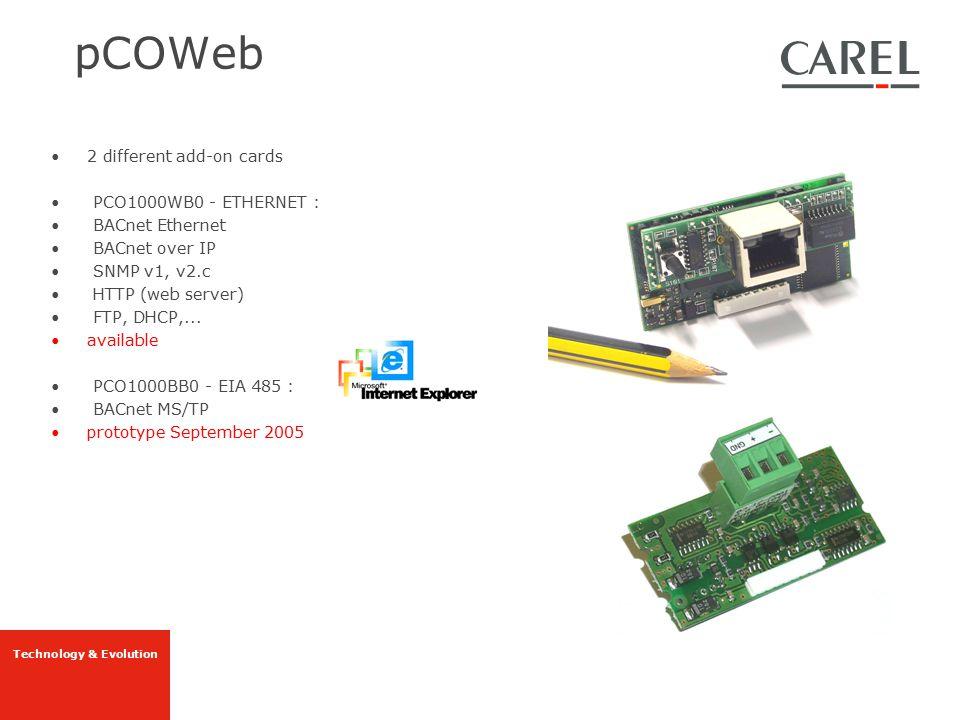 Technology & Evolution pCOWeb 2 different add-on cards PCO1000WB0 - ETHERNET : BACnet Ethernet BACnet over IP SNMP v1, v2.c HTTP (web server) FTP, DHC