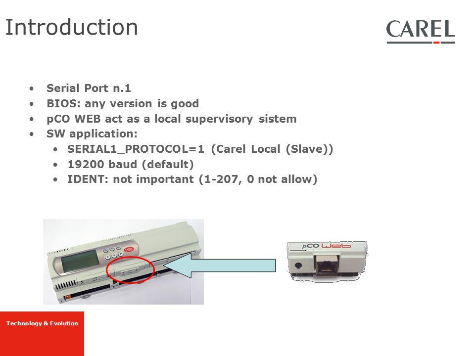 Technology & Evolution PcoWeb General Ethernet Configuration (IP,n° RX/TX,...)