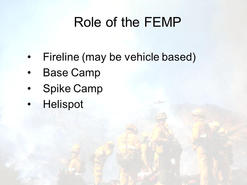 Role of the FEMP Fireline (may be vehicle based) Base Camp Spike Camp Helispot