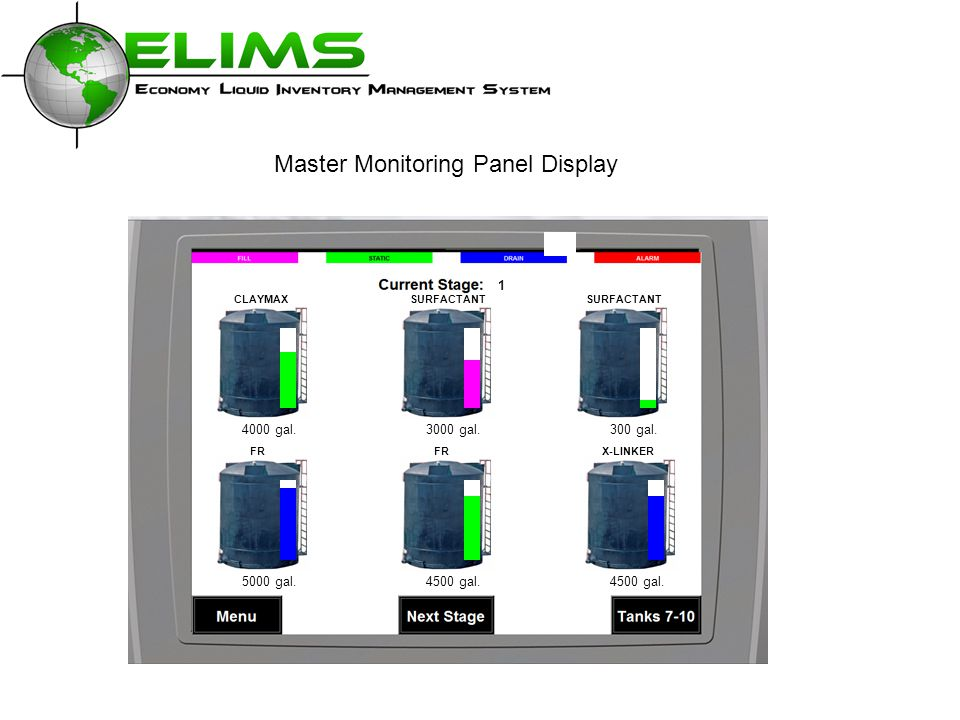Master Monitoring Panel Display 4000 gal.3000 gal.300 gal. 4500 gal.5000 gal.4500 gal. CLAYMAXSURFACTANT FRX-LINKERFR 1