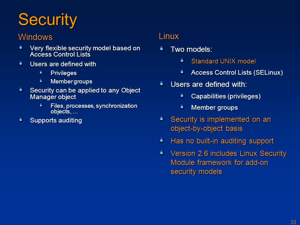 33 Security Windows Very flexible security model based on Access Control Lists Users are defined with Privileges Member groups Security can be applied