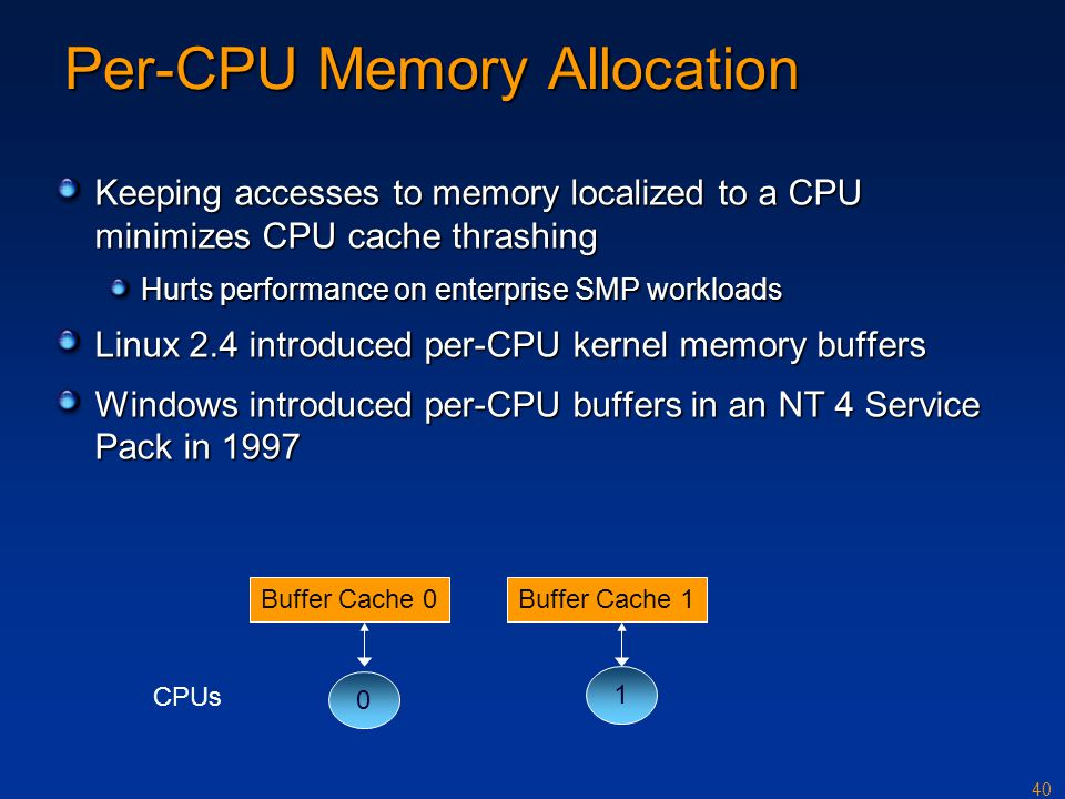 40 Per-CPU Memory Allocation Keeping accesses to memory localized to a CPU minimizes CPU cache thrashing Hurts performance on enterprise SMP workloads