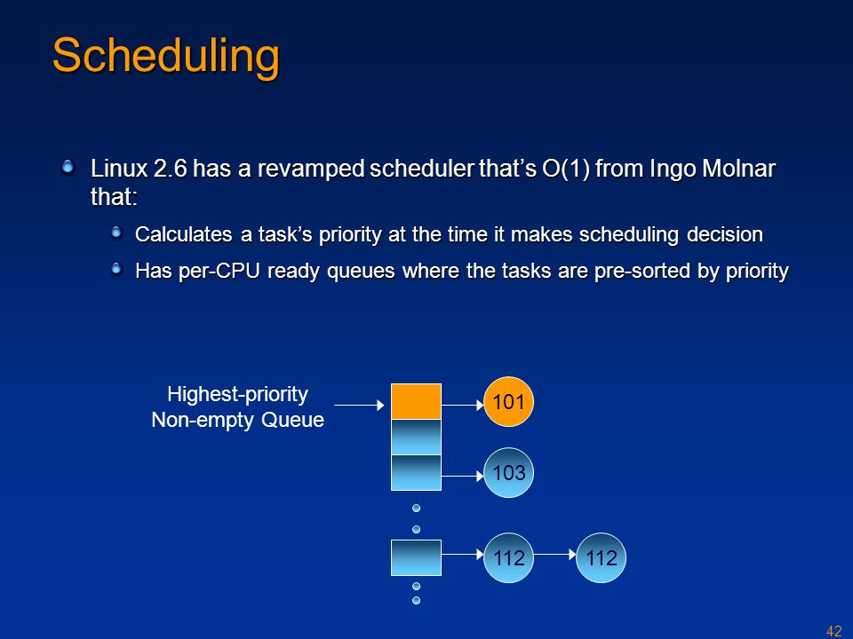 42 Scheduling Linux 2.6 has a revamped scheduler that's O(1) from Ingo Molnar that: Calculates a task's priority at the time it makes scheduling decis