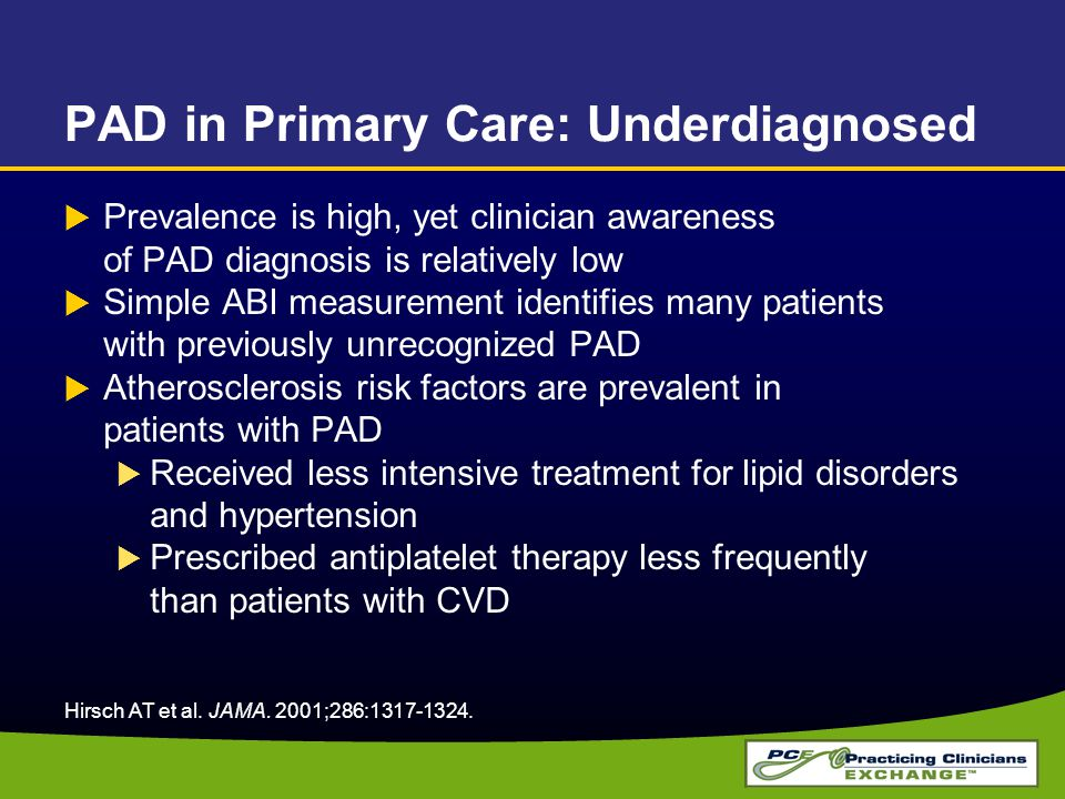 PAD in Primary Care: Underdiagnosed  Prevalence is high, yet clinician awareness of PAD diagnosis is relatively low  Simple ABI measurement identifies many patients with previously unrecognized PAD  Atherosclerosis risk factors are prevalent in patients with PAD  Received less intensive treatment for lipid disorders and hypertension  Prescribed antiplatelet therapy less frequently than patients with CVD Hirsch AT et al.