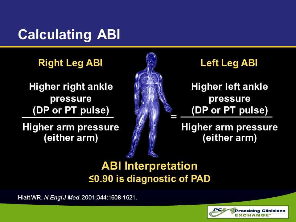 Calculating ABI Higher right ankle pressure (DP or PT pulse) Higher arm pressure (either arm) = Right Leg ABI Left Leg ABI Higher left ankle pressure (DP or PT pulse) Higher arm pressure (either arm) = ABI Interpretation ≤0.90 is diagnostic of PAD Hiatt WR.