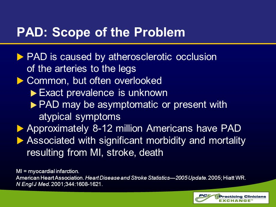 PAD: Scope of the Problem  PAD is caused by atherosclerotic occlusion of the arteries to the legs  Common, but often overlooked  Exact prevalence i