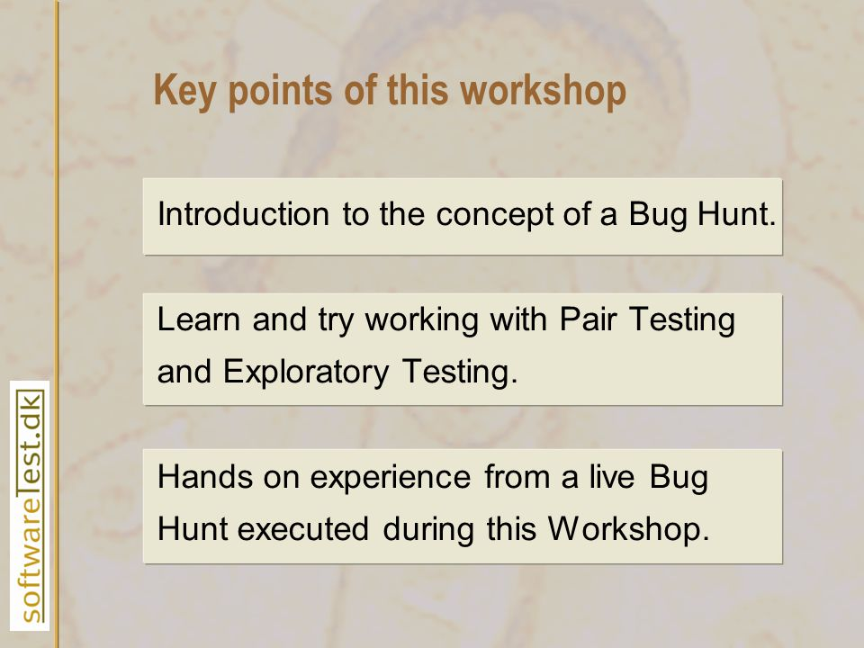 Introduction to the concept of a Bug Hunt. Learn and try working with Pair Testing and Exploratory Testing. Hands on experience from a live Bug Hunt e