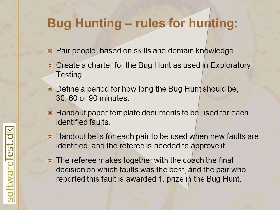 Bug Hunting – rules for hunting: Pair people, based on skills and domain knowledge.