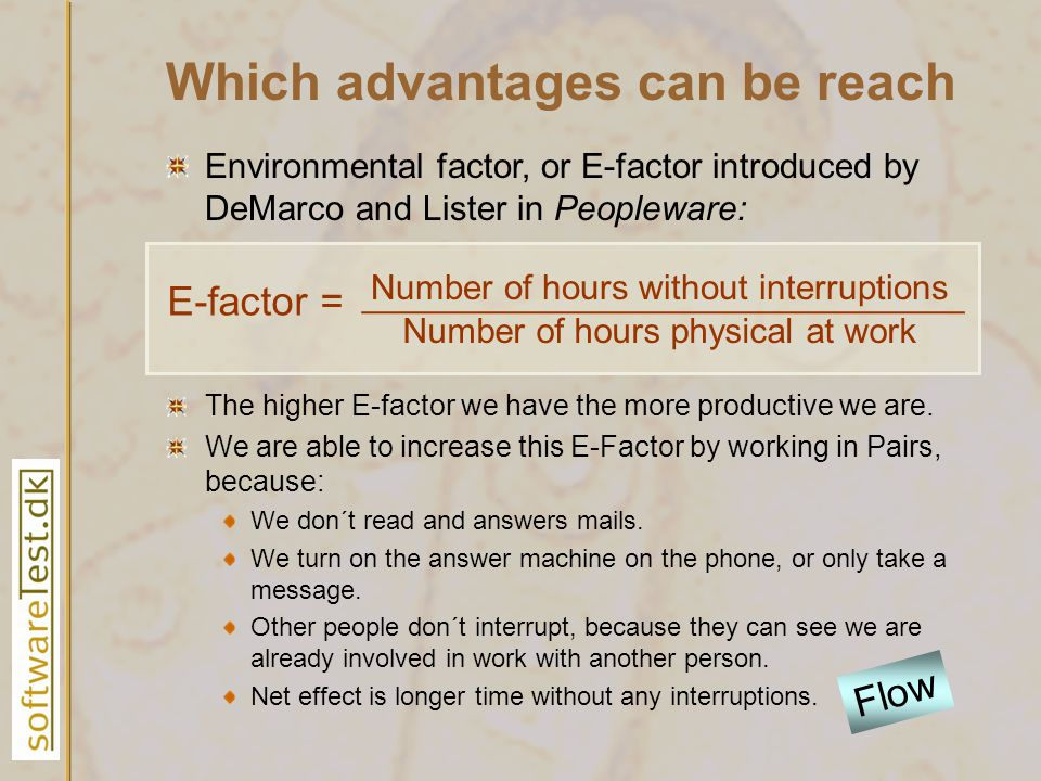 Flow Which advantages can be reach The higher E-factor we have the more productive we are. We are able to increase this E-Factor by working in Pairs,