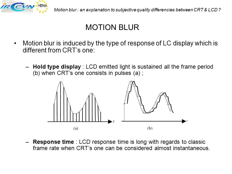Motion blur : an explanation to subjective quality differencies between CRT & LCD ? Motion blur is induced by the type of response of LC display which