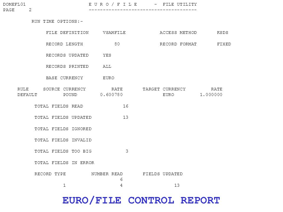 DOMEFL01 E U R O / F I L E - FILE UTILITY PAGE 2 -------------------------------------- RUN TIME OPTIONS:- FILE DEFINITION VSAMFILE ACCESS METHOD KSDS RECORD LENGTH 80 RECORD FORMAT FIXED RECORDS UPDATED YES RECORDS PRINTED ALL BASE CURRENCY EURO RULE SOURCE CURRENCY RATE TARGET CURRENCY RATE DEFAULT POUND 0.600780 EURO 1.000000 TOTAL FIELDS READ 16 TOTAL FIELDS UPDATED 13 TOTAL FIELDS IGNORED TOTAL FIELDS INVALID TOTAL FIELDS TOO BIG 3 TOTAL FIELDS IN ERROR RECORD TYPE NUMBER READ FIELDS UPDATED 6 1 4 13 EURO/FILE CONTROL REPORT