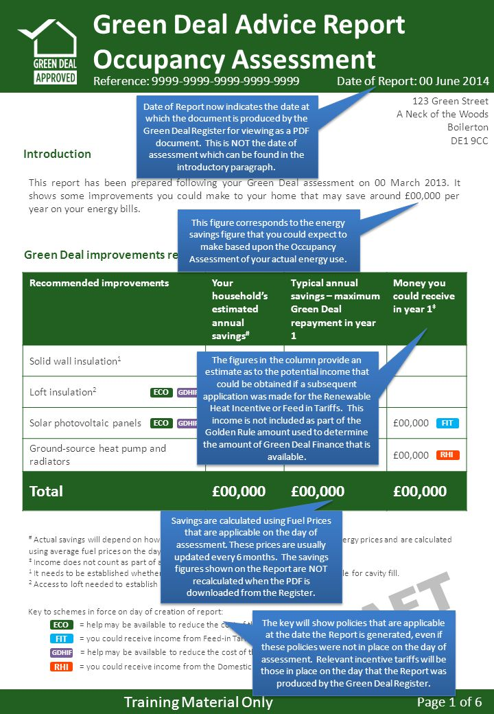 DRAFT Green Deal Advice Report Occupancy Assessment Green Deal improvements recommended by your assessor: Recommended improvementsYour household's estimated annual savings # Typical annual savings – maximum Green Deal repayment in year 1 Money you could receive in year 1 ‡ Solid wall insulation 1 £00,000 Loft insulation 2 £00,000 Solar photovoltaic panels£00,000 Ground-source heat pump and radiators £00,000 Total£00,000 Reference: This report has been prepared following your Green Deal assessment on 00 March 2013.