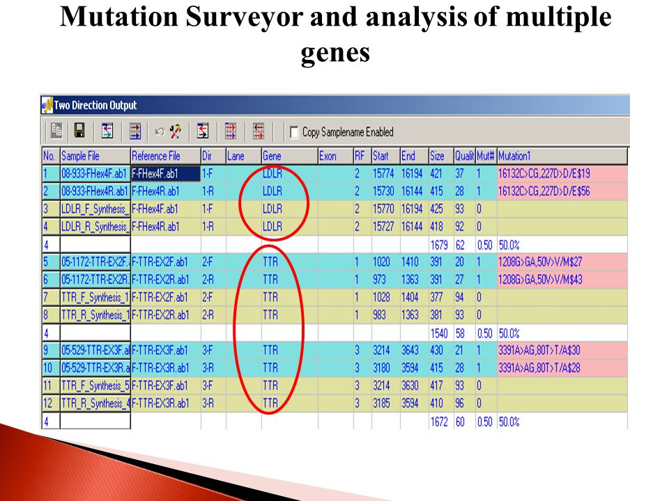 Mutation Surveyor and analysis of multiple genes