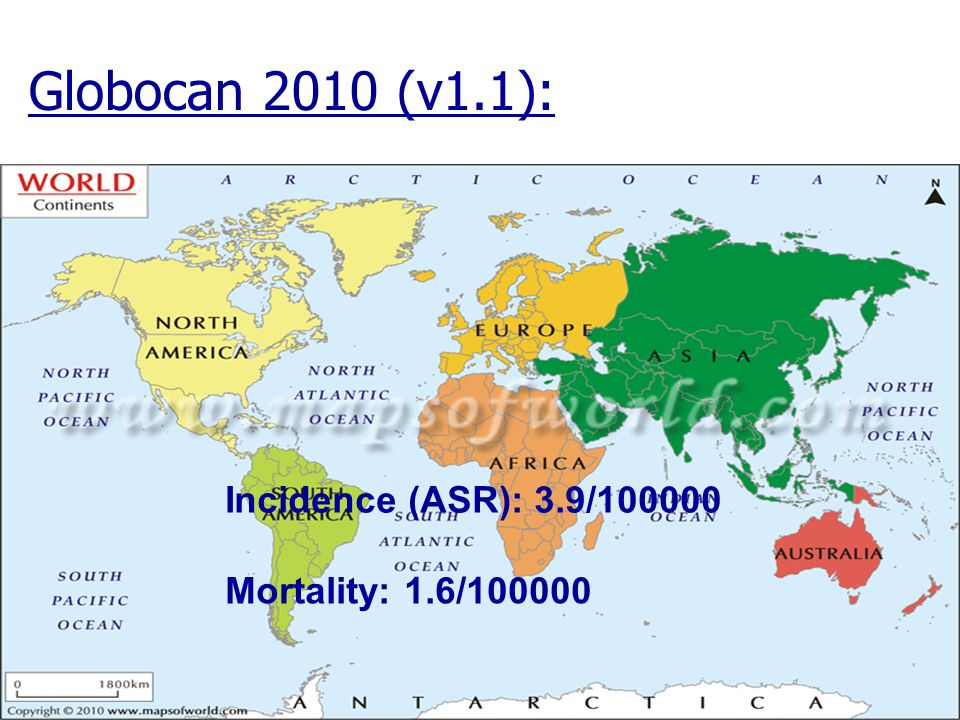 Globocan 2010 (v1.1): Incidence (ASR): 3.9/100000 Mortality: 1.6/100000