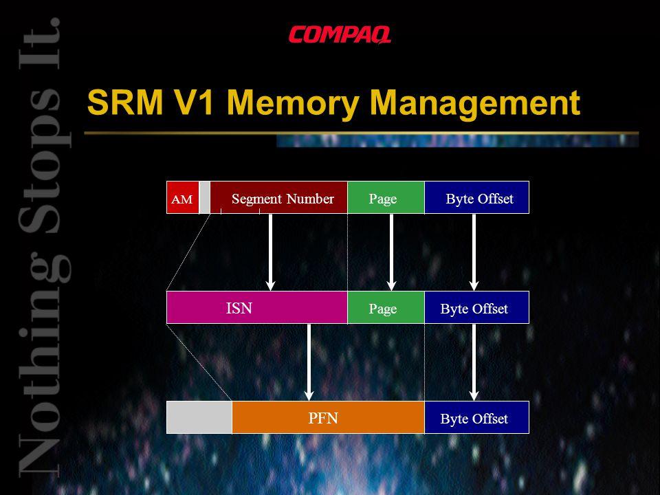 SRM V1 Memory Management Byte OffsetPageSegment Number AM ISN PageByte Offset PFN