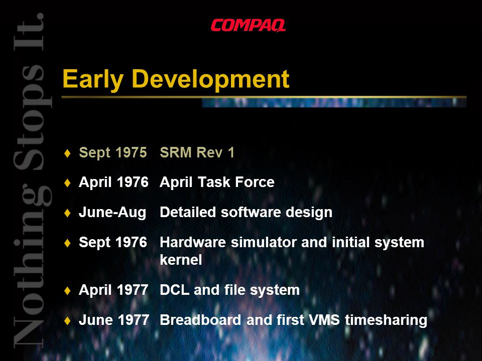 Early Development t Sept 1975SRM Rev 1 t April 1976April Task Force t June-AugDetailed software design t Sept 1976Hardware simulator and initial system kernel t April 1977DCL and file system t June 1977Breadboard and first VMS timesharing