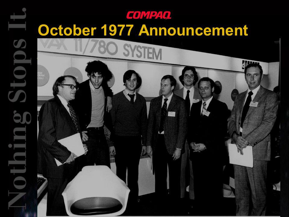 October 1977 Announcement