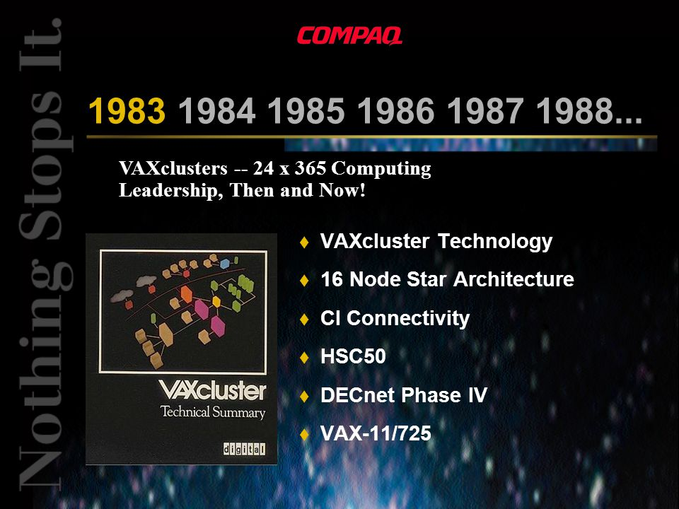 VAXclusters -- 24 x 365 Computing Leadership, Then and Now.