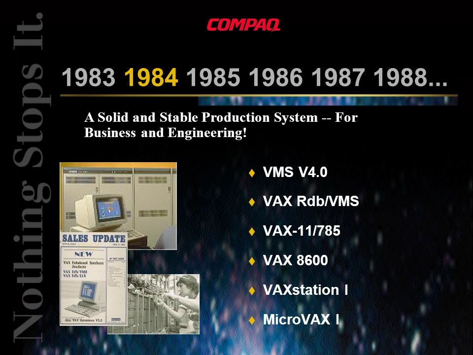 A Solid and Stable Production System -- For Business and Engineering! 1983 1984 1985 1986 1987 1988... t VMS V4.0 t VAX Rdb/VMS t VAX-11/785 t VAX 860